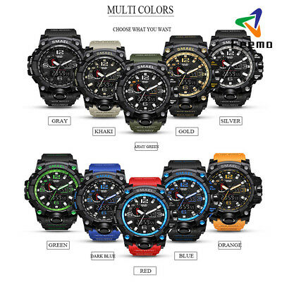 SMAEL Camouflage Sport Watch Men's Watch Dual Time Army LED Digital Watch DE