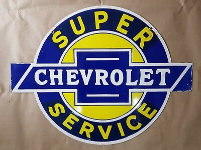 CHEVROLET SUPER SERVICE Vintage Porcelain Sign Double Sided 24 x 18 1/2 inches