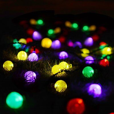 Colorful 30 LED Solar String Fairy Lights Crystal Ball Xmas Garden Party Wedding