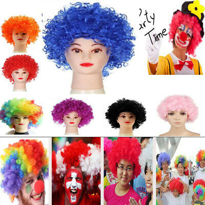 Halloween 80s afro curly wig fancy rainbow hair party clown funky disco kids