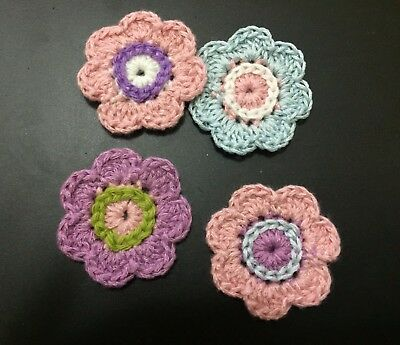 4 Crochet Applique Flowers ~ Hand Made ~ Embellishment, Scrap booking