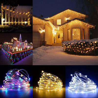 LED Solar String Lights Waterproof 10/20M Copper Wire Fairy Lamps Outdoor Garden