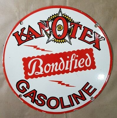 KANOTEX BONDIFIED GASOLINE  Vintage Porcelain Sign 14 INCHES ROUND