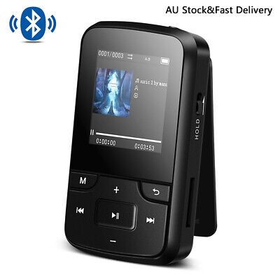 AGPTEK Clip MP3 Player Bluetooth 8GB Portable Sport Music Player FM Radio Black