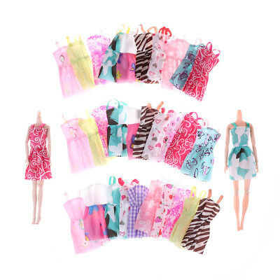 10Pcs Fashion Handmade Barbie Doll Party Dress Clothes Mixed Styles RandomRX