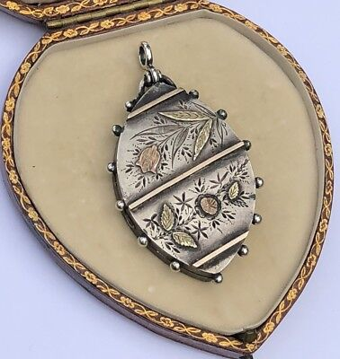 Victorian Antique Silver Unusual Ornate Locket With Gold Over Lay Large Pendant