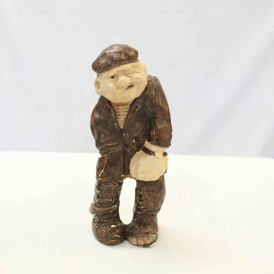 Vintage Figurine Old Fisherman Man Statue Made in Denmark Signed #15204