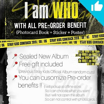 Stray Kids ' I am who ' album * ALL preorder benefits * Tracking number +freebie