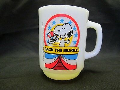 Vintage Fire King Snoopy Presidential Back The Beagle Mug Collector Series No 1!