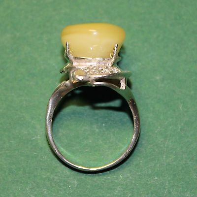 Vintage ring with genuine Baltic Amber Stone, sterling silver 925!