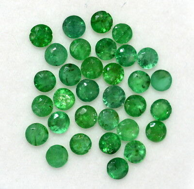 Natural Emerald Round Cut 2.75 mm Lot 32 Pcs 2.80 Cts Green Shade Loose Gemstone