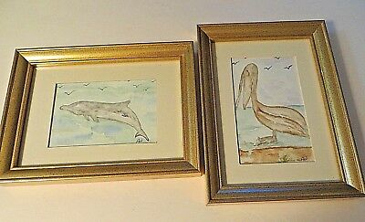 Set Of 2 Original Mini Water Color  Sea Life Framed Signed Pictures Final Sale
