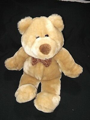 """Animal Alley 2000 Plush 12"""" Brown Teddy Bear With Bow Tie Silky Soft Stuffed Toy"""