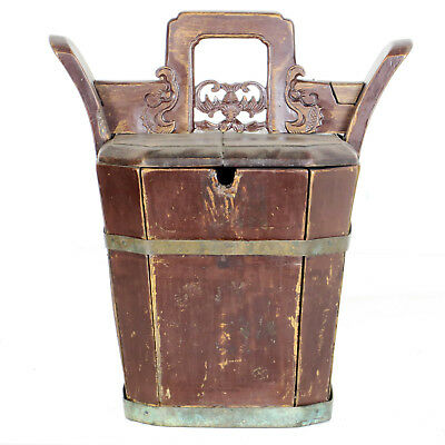 Antique Chinese Wood Teapot Holder Bucket with Fancy Carved handle