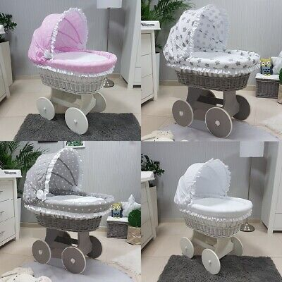 White / Grey Wicker Moses Basket With Hood + Chassis + Big Wheels + Bedding 4Col