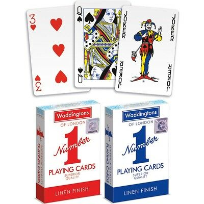 12 X Decks of Waddingtons No1 Classic Playing Cards Red /& Blue Poker Game Boxed