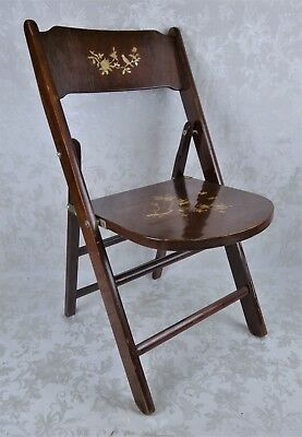 Rare Antique Vintage Chinese Mother of Pearl Inlay Wood Folding Chair