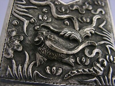 CHINESE EXPORT SILVER TAPER STICK HOLDER c1900 ANTIQUE FISH