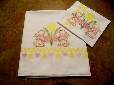 Hand Embroidered Bunny-Themed Baby Crib Sheet & Pillow Case...Never Used