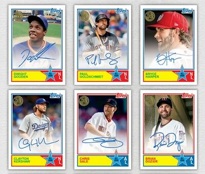 Topps Bunt 2018 1983 All-Star Signature Lot of 6 Harper Sale Kershaw Goldy +
