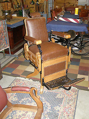 Antique Oak Kochs Columbia Barber Chair w/ Headrest, Excellent Condition