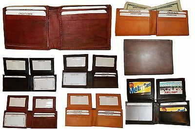 Lot of 4 New Man/'s Bi fold Leather Wallet 12 Credit Cards 2 IDs 2 Suede lined bn
