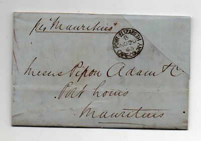 1865 South Africa To Mauritius Cover, Port Elizabeth Cancel, Contents