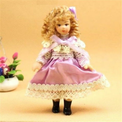 Doll house Miniature Victorian Baby Little Girl Doll Figure w/ Skirt Stand 1:12
