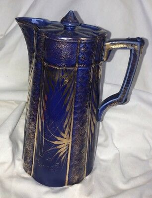 Antique Porcelain/blue Cobalt Gold Gilded Chocolate Coffee Pot Nippon