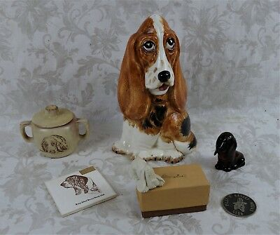 Vintage Mid C. Lot Collection of Bassett Hound Club Award Collectibles Porcelain