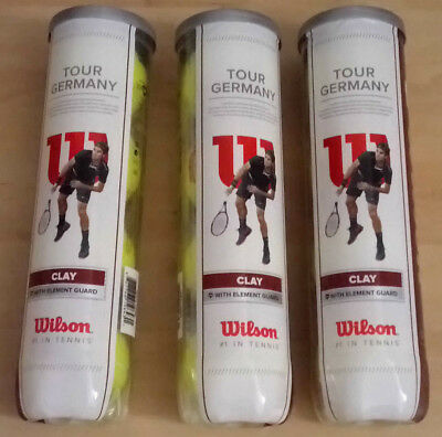 3x4=12 Tennisbälle Wilson Tour Germany Clay druckverpackt