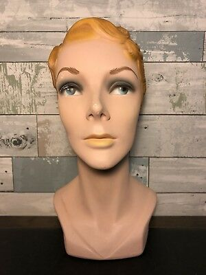 Rare Original Vintage 1940s Lady Mannequin Head Millinery Display