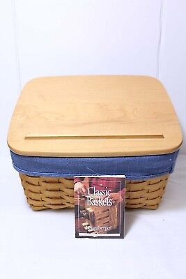 Longaberger Card Keeper Basket 2001 Organizer Blue Fabric Cover