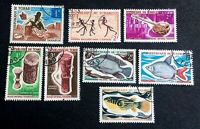 Tchad: 8 nice old canceled stamps