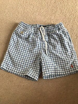 Boys Ralph Lauren Blue And White Swim Shorts Holiday 8 Years Old