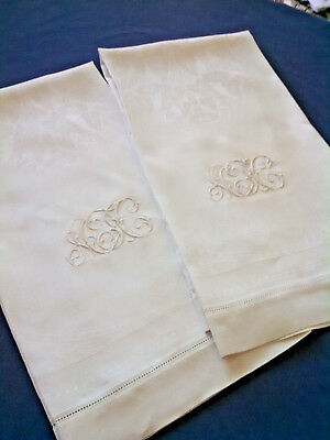 Pair / Large / Vintage Irish Linen Towels / Monogrammed