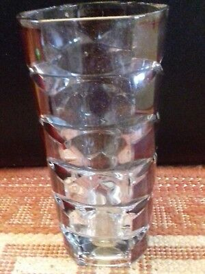 Vintage Retro 70's French JG Durand Cranberry Red/Clear Faceted Vase.EXTRA LARGE