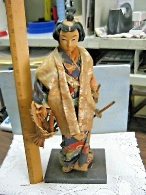 Antique JAPANESE CHINESE Asian Figurine Doll MALE KIMONO Carrying Weapons Basket
