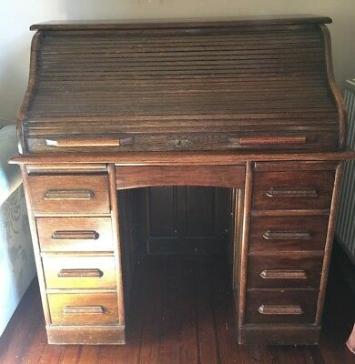 Antique roll top tambor writing desk, c.early 20th Century