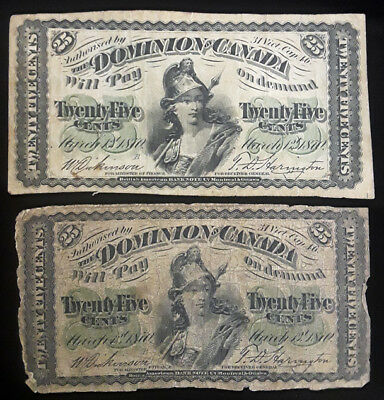 2 Dominion Of Canada 25 Cents Notes - 1870 Issue