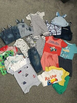 Huge Summer Baby Boy 6-9months Bundle Inc Rompers Outfits Dungarees next M&s tu