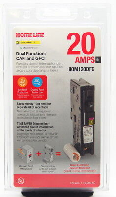 Square D HOMELINE HOM120DFC 20amp Dual Function CAFI and GFCI NEW SEALED