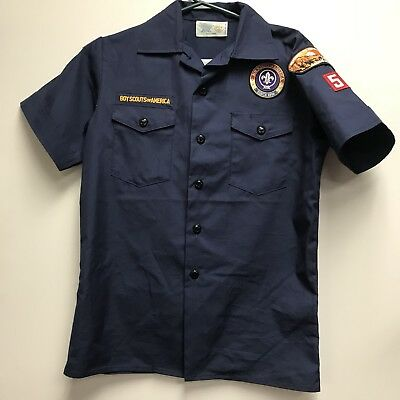 Youth: Large Official Boy Scouts Of America Uniform Shirt Blue w/Patches