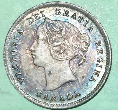 1898 Canadian Silver 5 Cents Five Cent Victoria Canada