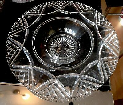 Vintage Stuart Crystal Glass Footed Bowl Large English Deep Cut 12.25 inches