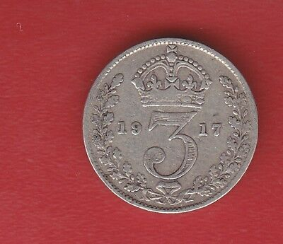 Great Britain 3 Pence 1917 Silver
