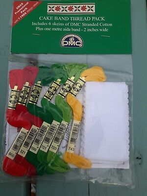 """Cake Band white 1 meter by 2"""" with 6 DMC threads and Xmas themed patterns inc."""