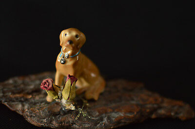 Labrador Retriever Dog Animal Ceramic Figurine Natural Roses on Real Tree Bark