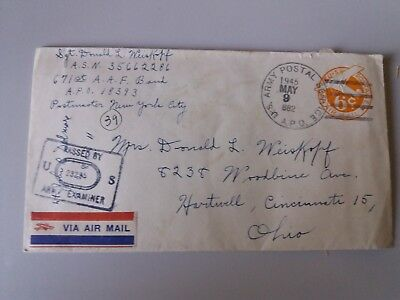 Cover Envelope +letter 9 may 1945!!!! US Army post 6 c Ohio