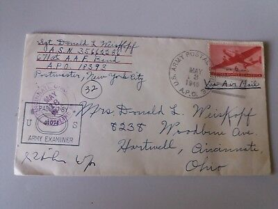 Cover Envelope +letter may 1945 US Army post 6 c Ohio red cross -passed exam
